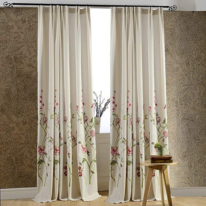 Anady Top Off White Linen Red Floral Curtains 2 Panel Flower And