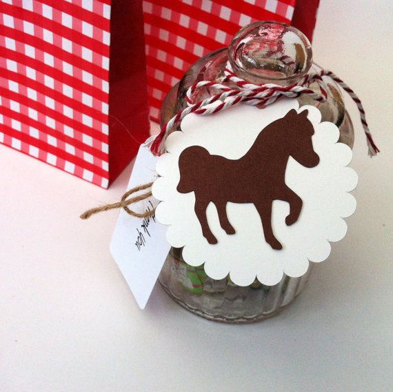 Horse Gift Tags in brown & white. Pony shape on a scalloped disc. Cowboy or cowgirl party, horse party theme.