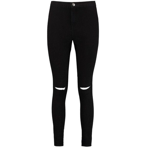 Boohoo Petite Leanne High Rise Split Knee Tube Jean   Boohoo ($21) ❤ liked on Polyvore featuring jeans, pants, bottoms, jeans/pants, high waisted jeans, high rise jeans, petite jeans, highwaist jeans and high-waisted jeans