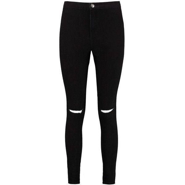 Boohoo Petite Leanne High Rise Split Knee Tube Jean   Boohoo ($21) ❤ liked on Polyvore featuring jeans, petite jeans, highwaist jeans, high-waisted jeans, high rise petite jeans and high waisted jeans