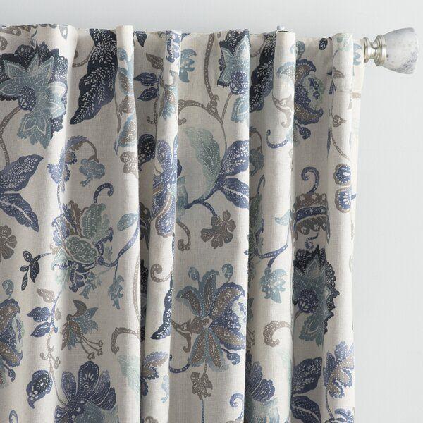 Jessamy Floral Blackout Thermal Rod Pocket Single Curtain Panel