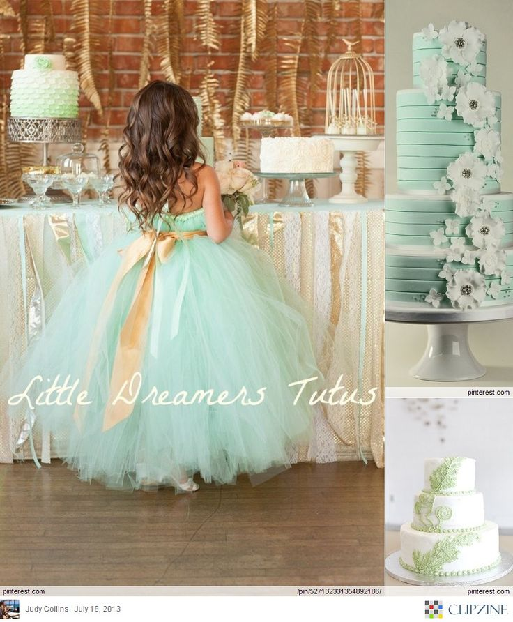 Mint Green Weddings..that dress is too cute!  I also like the cake!