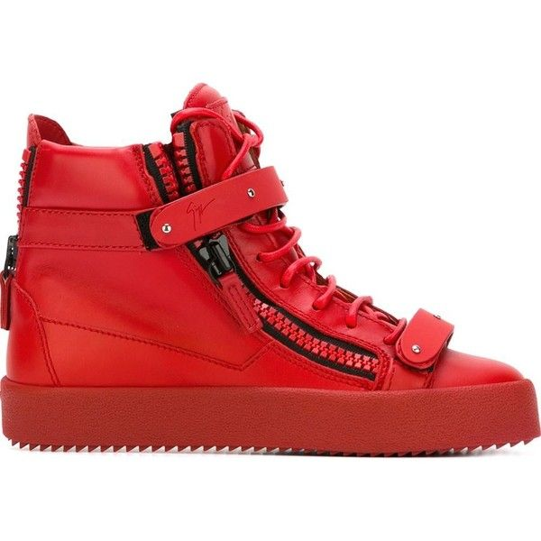 Giuseppe Zanotti Design zip detail hi-top sneakers ($960) ❤ liked on Polyvore featuring shoes, sneakers, red, flat sneakers, lacing sneakers, red sneakers, lace up shoes and red high top shoes