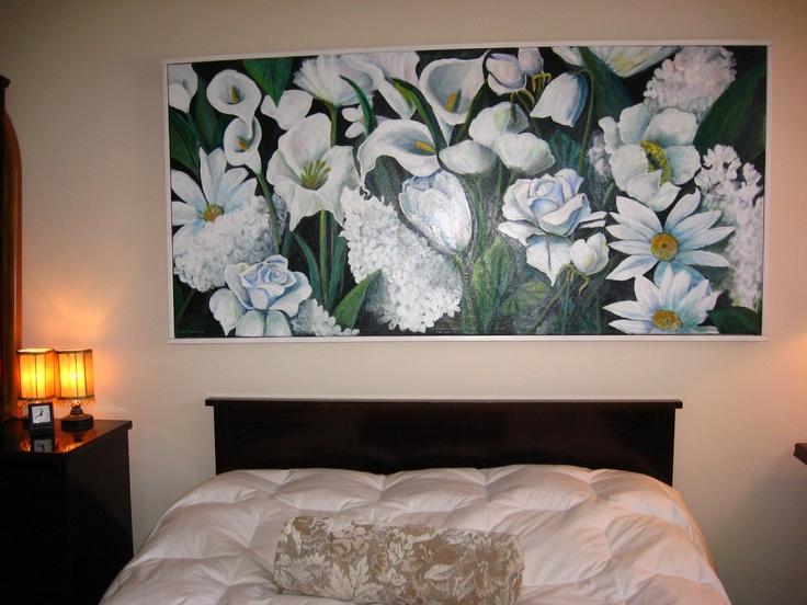 Beautiful white flowers in the bedroom.  5 ft by 3 ft