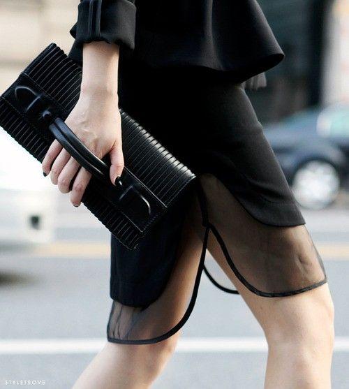 Sheer effect added to that black skirt.