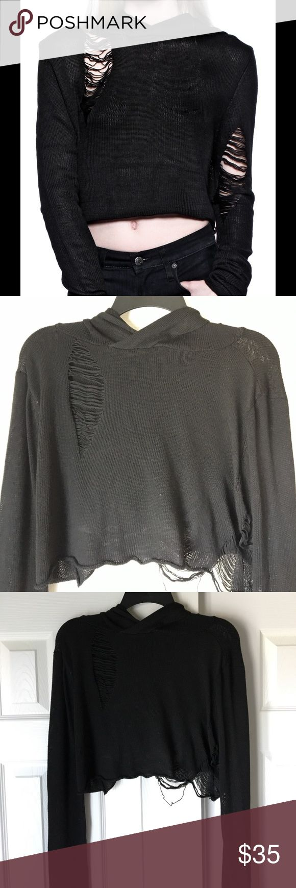 Hooded Tattered Crop Sweater A House of Widow piece. (Listed Hot Topic for visibility) I believe it's unavailable anywhere now. Like new condition. Super spooky and witchy. Has extra long and comfy sleeves to be pushed up easily. Tatters are sturdy and won't unravel easily. Perfectly goth and edgy  Stretchy, could probably for anyone from a small to a large. Hot Topic Sweaters