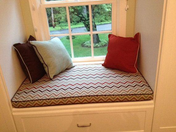 Custom Cushion Sewn Window Seat Cushion With Cording Playroom Nursery Window Cushion Bench Seat Chair Pad