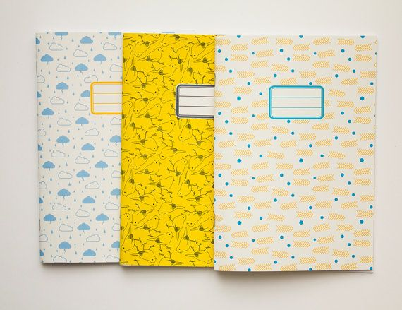 Personalized journals - Back to school kit - pack of 3 - 10 patterns available. €18.00, via Etsy.
