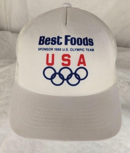 Vintage Best Foods 1988 Olympics Sponsor Snapback Trucker Hat White Official USA