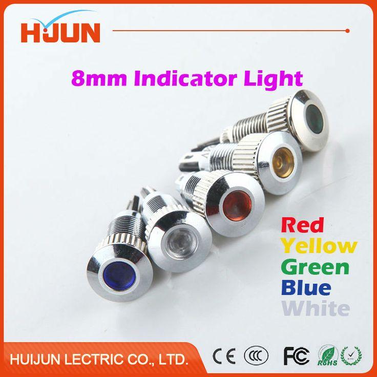 1 pcs 8mm Logam Tahan Air Kubah Putaran Lampu Sinyal Indikator LED Percontohan Cahaya Colourful Merah Kuning Biru Hijau Putih