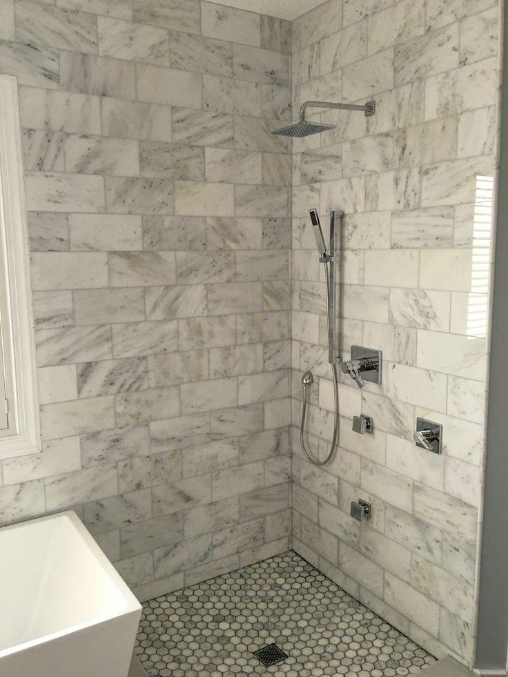 "6x12"" Bianco Carrara Marble Shower, polished finish"