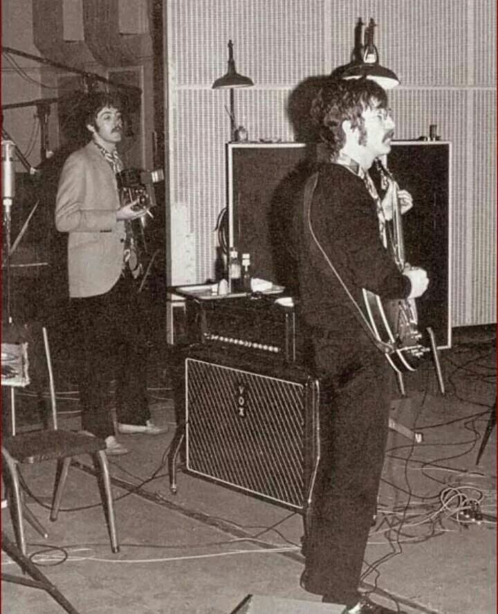 Paul and John during Sgt. Pepper's sessions, 1967