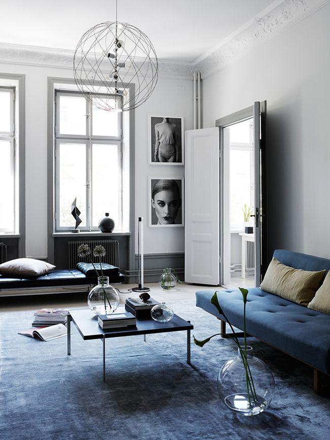 Denim drift sofa and rug