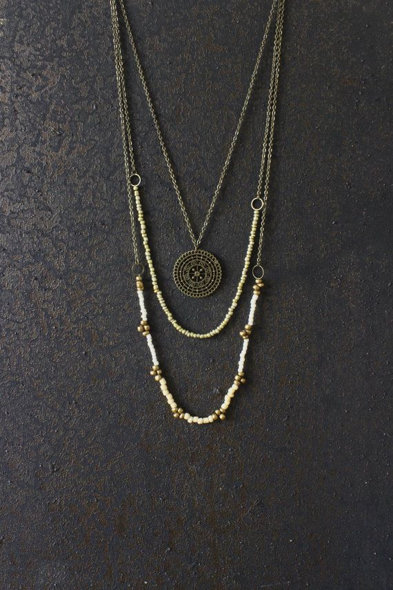 AnankeJewelry Layered necklace, boho necklace, hippie necklace, mandala necklace, boho jewelry, bohemian necklace, vintage necklace, unique jewelry, multi strand, brass necklace, my style, women fashion, gypsy jewelry