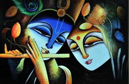 The Radha-Krishna amour is a love legend that is known to one and many. There are thousands of temples across the world where Radha-Krishna are worshipped together.  Vivid in every sense, this radha krishna oil painting captures the rich imagination of the artist. The artist has used flamboyant colors in this painting, which depicts the glory of Indian art.                   http://bit.ly/SUWsj3