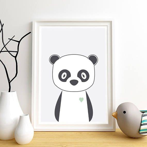 Animal nursery art Nursery art print Panda Cute baby
