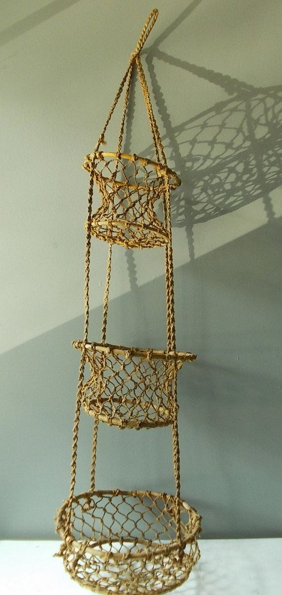 3 Tier Hanging Basket, Macrame And Bamboo, Vintage Kitchen Storage Or  Planter