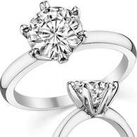 Кольцо с бриллиантом 3 карата из белого золота в дизайне Тиффани