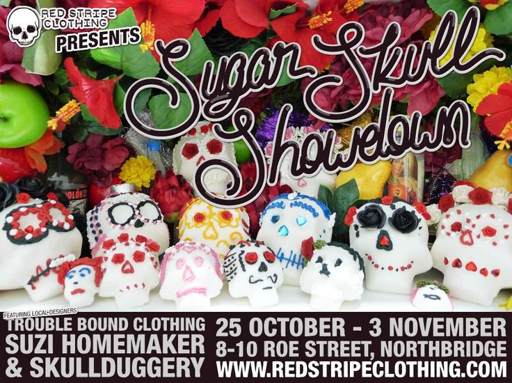 Red Stripe Clothing celebrates Day of the Dead instore with a special window display featuring local designers Trouble Bound Clothing, Skullduggery and Suzi Homemaker, a mini exhibition featuring a selection of their latest wearable creations, alongside handmade sugar skulls crafted especially for the event by Skullduggery and Suzi Homemaker.   Exhibition runs 25 October - 3 November 2013.