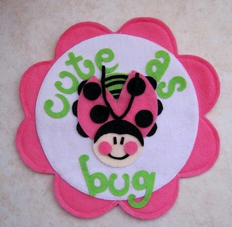 Cute as a bug Lady bug flower felt Handmade party decor