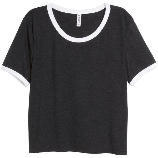 H&M Crop top ($11) ❤ liked on Polyvore featuring tops, t-shirts, shirts, crop top, black, black crop tee, black crop shirt, sleeve crop top, crop tee and crop t shirt