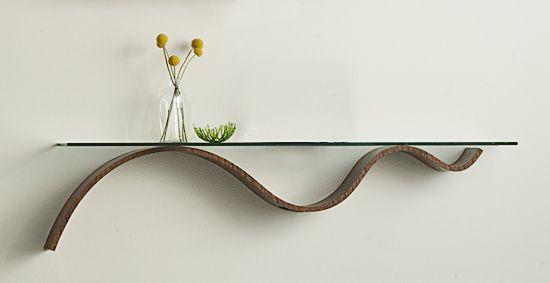 """Sinuous Shelf""        Wood & Glass Shelf                                                                              Created by                          Richard Judd"