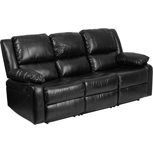 Parkside Harmony Black Leather Sofa With Two Built In Recliners