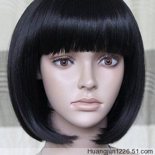 BOB Black Short Styled Naturally Synthetic Real Hair,Party Female Cosplay Wig.Free shipping