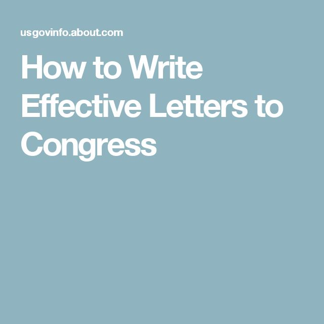 I want to write a letter to my congressman