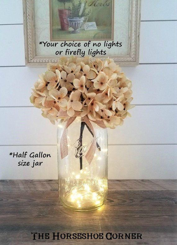 Mason Jar With Lights Lighted Mason Jar Vase Rustic Wedding Etsy Lighted Centerpieces Rustic Wedding Decor Wedding Centerpieces