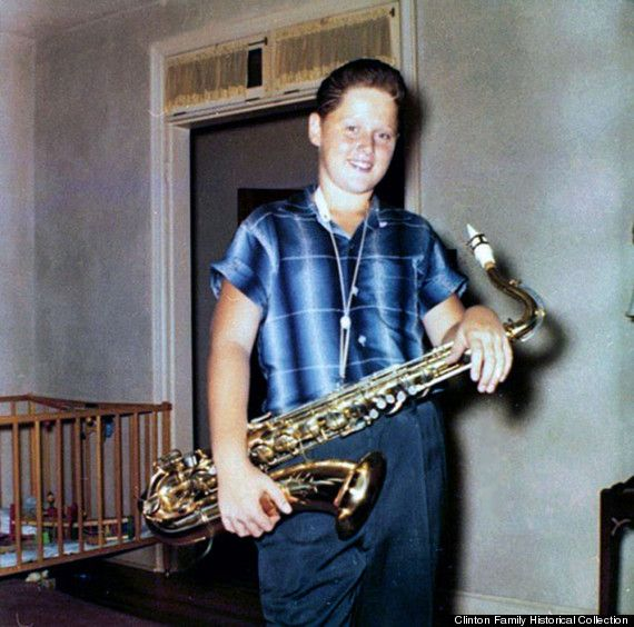 In this 1958 photo, 12-year-old Bill Clinton hangs out with his trademark instrument. Rock on, Bill Clinton. Rock on.