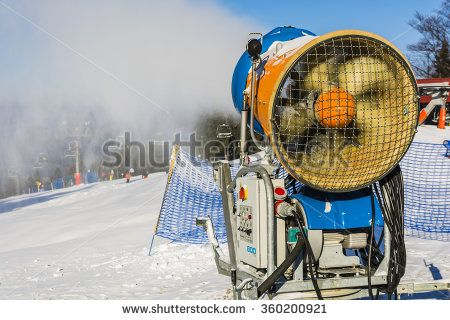 Wierchomla Mala, Poland - January 02, 2016: Snow canon in the course of work on the slopes.