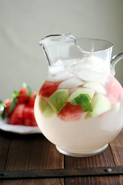 Ingredients: 1 ½ cups diced watermelon 1 ½ cups diced cantaloupe 1 ½ cups diced honeydew melon 2 cups ice 10 mint leaves Juice from ¼ lime 2 bottles spumonte or other sparkling wine    #drink