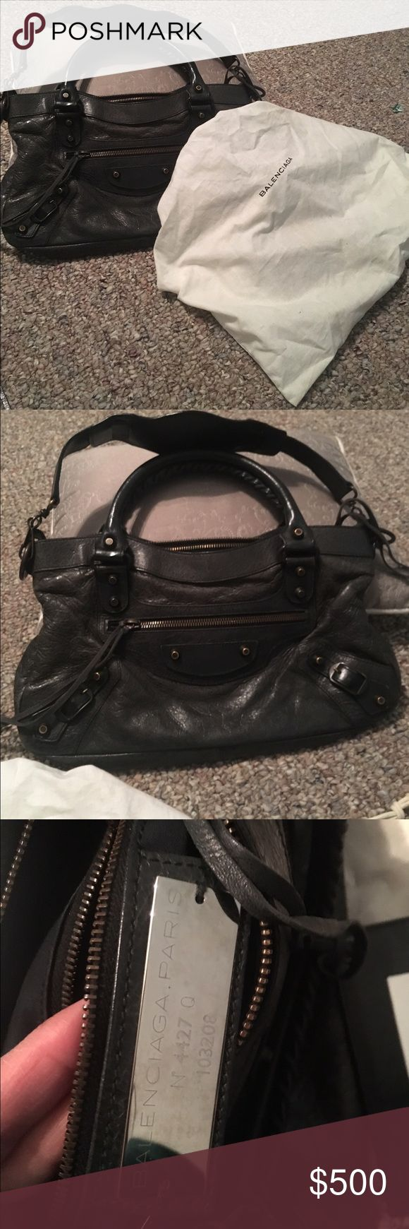 Balenciaga first Gently used authentic balenciaga first! It definitely needs some moisturizing for a brand new look.  It is in great shape more pics if your seriously interested thanks for looking.  Color is anthracite. Balenciaga Bags Shoulder Bags