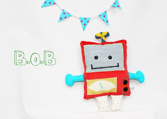 Red happy robot softie - Handmade Besties!