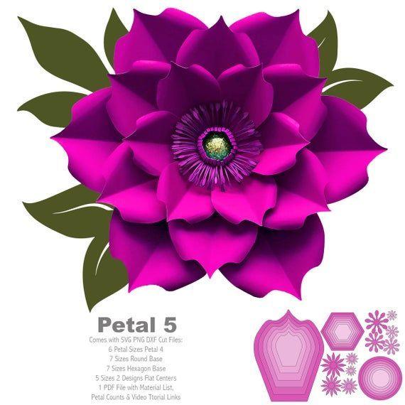 Svg Png Dxf Petal 5 Paper Flowers Template Flat Centers And Etsy Paper Flower Template Flower Template Paper Flowers