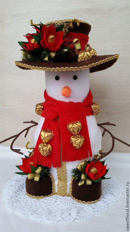 Букеты ручной работы. Ярмарка Мастеров - ручная работа. Купить Снеговик с сюрпризом, подарок на новый год. Handmade. Комбинированный, снеговик в подарок
