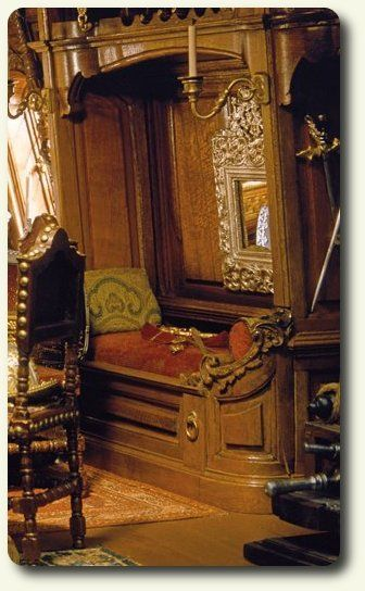 Close up of the detailed captain's bed in A Pirate Captain's Cabin roombox by Henry Kupjack Studio