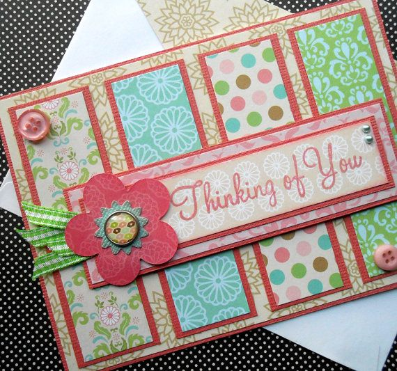 Thinking of You Card with Matching by SewColorfulDesigns on Etsy, $4.50