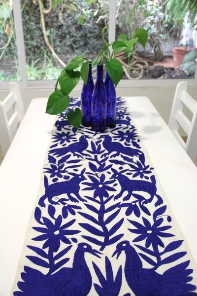 PRE ORDER Cobalt Blue Hand Embroidered Otomi Table runner Textile