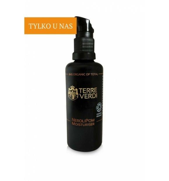 Krem nawilżający NeroliPom - Terre Verdi, 50 ml  Krem NeroliPom łączy w sobie antyoksydacyjne I nawilżające właściwości organicznego oleju z nasion granatu z przeciwzmarszczkowym I wypełniającym działaniem oleju z neroli.