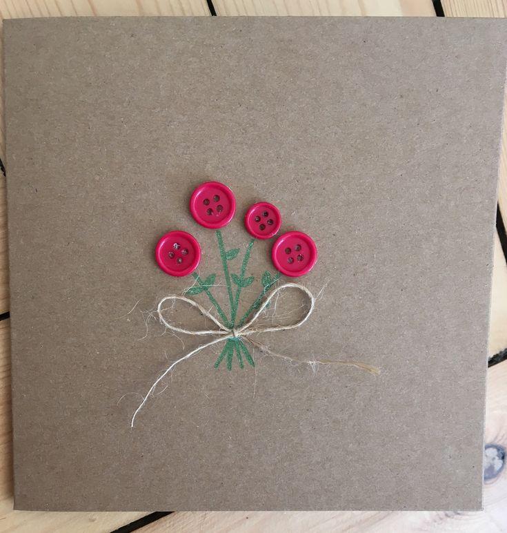 Red flower card, handmade button flower card  http://etsy.me/2n9dFX0