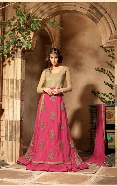 Exotic French Rose Pink and Golden Lovely Floor Length Dress