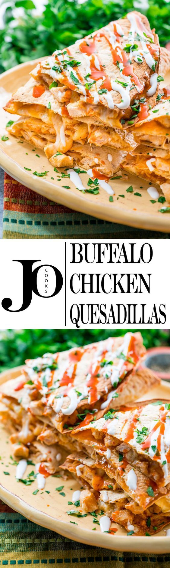These Buffalo Chicken Quesadillas will give you the bold flavors of buffalo chicken wings with gooey melted cheese, all packed in a quesadilla! Quick and simple recipe for the best and most delicious quesadillas!