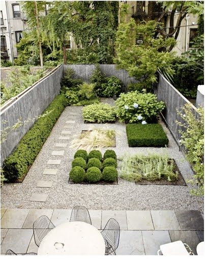 For the love of rectangularity! Great idea for a kitchen garden. In the south, substitute rosemary for boxwood hedges.