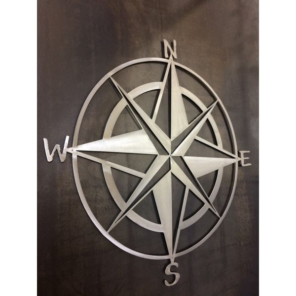 Nautical Star and Compass Metal Wall Art and Home Decor Popeye Would... ($18) ❤ liked on Polyvore featuring home, home decor, wall art, dark olive, home & living, home décor, wall décor, metal compass rose, nautical home decor and framed metal wall art
