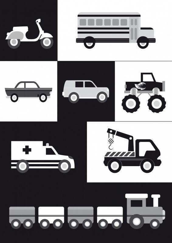 Poster voertuigen zwart-wit Een stoere monochrome poster in A4 formaat met diverse auto's een bus, scooter en trein. Leuk voor in de jongenskamer of boven de speelplek. decoratie kinderkamer babykamer jongenskamer jongen