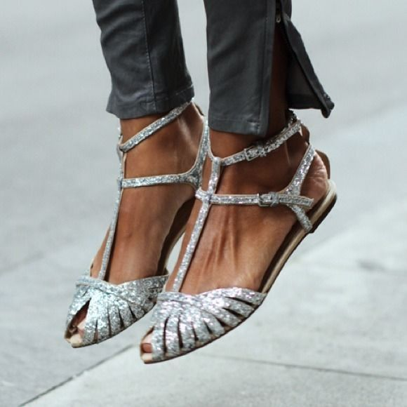 ZARA SILVER GLITTER SEQUIN FLAT SANDALS ANKLE STRAP OPEN TOE BLOGGERS US 6.5 37   Clothing, Shoes & Accessories, Women's Shoes, Flats & Oxfords   eBay!