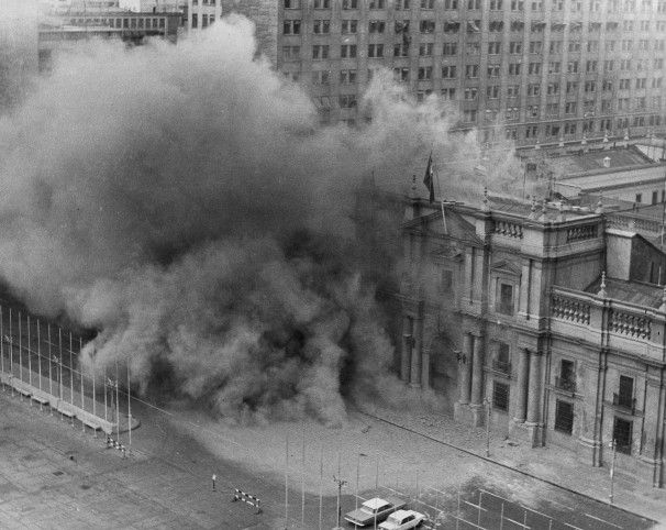 La Moneda, the presidential palace in Santiago, Chile, is bombarded by military jets during a coup against President Allende's government, Sept. 11, 1973.