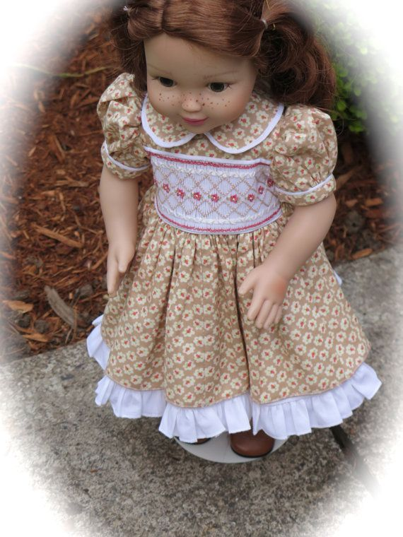 American Girl Doll Clothes - Floral Smocked Doll Dress - 18 Inch Doll Easter Dress- Heirloom Smocked Doll Dress - Rainbow Lily Designs